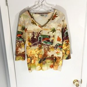 Collections Etc. Fall Graphic Long Sleeve Blouse